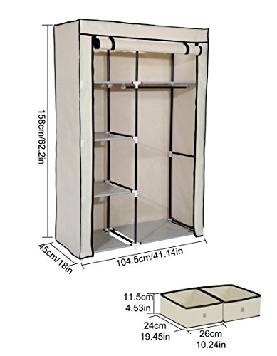 Home-Like Storage Closet with 2 Storage Drawers Portable Wardrobe Armoire Cabinet Storage Closet Portable Clothes Closets Non-Woven Fabric Wardrobe Clothing Storage Organizer Beige Color (1452-Beige)