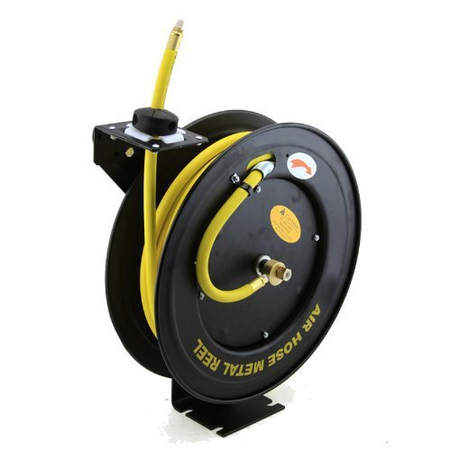 XtremepowerUS Auto-Rewind Retractable 100-Feet x 3/8-Inch Air Hose Reel with Rubber Hose Spring Driven Auto Rewind 3/8 in x 100 ft, 300PSI