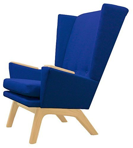 Bright Blue Upholstered Tall Wingback Lounge Chair Lewis Tall Lounger (LTL) Modern Contemporary MCM Retro Mid Century Modern Lewis Interiors Handcrafted Custom Room Accent Custom Upholstered Furniture