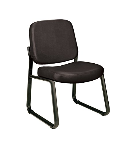 OFM Anti-Microbial/Anti-Bacterial Vinyl Guest/Reception Chair, Black Armless Vinyl Guest Chair