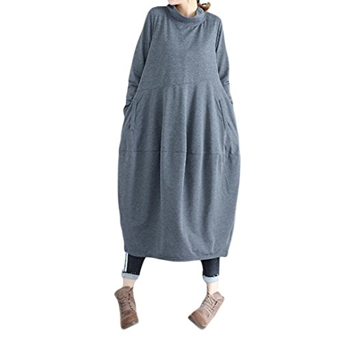 Dacawin Vintage Women Dress Solid Color High Collar Splicing Cotton and Linen Loose Lantern Long Dress