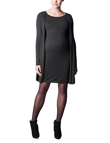 Noppies Dress knit ls Haeli-Vestido premamá Mujer, gris (Anthracite Melange C247)