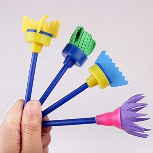 (ライチ) Lychee (ライチ) Lychee 4本セット 絵の具 スポンジブラシ フラワーペイントブラシ 回転スピンスポンジ 子供向け 落書き 絵画ツール アート用品 アーティスト おもちゃ 知育玩具 可愛い