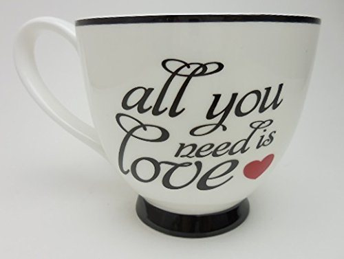 Tip Wing Bone - Portobello All You Need is Love Fine Bone China Large Cup