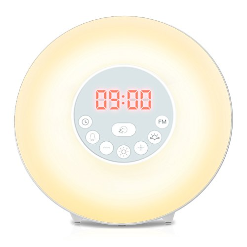 COULAX Wake Up Light Sunrise Alarm Clock Bedside Lamp, 6 Natural Sounds FM Radio Digital Clock, Sunrise Wake Up Alarm Sunset Simulation & 7 Auto Switch Colors, Touch Control with USB Charger (Digital Natural)