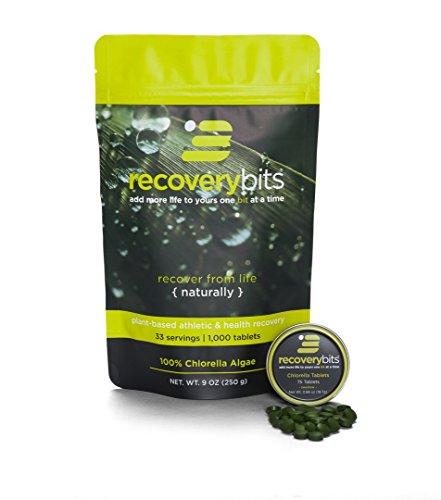 RECOVERYbits Chlorella Algae Tablets Organically Grown, Cracked Cell Wall, Non-GMO, vegan, paleo, ketogenic, raw. 100% pure green Chlorella Pyrensoidosa, a plant-based, Bag of 1,000 tabs