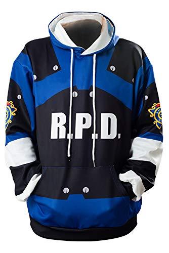 MUCLOTH Leon Kennedy Claire Redfield RPD Adult Zip up Hoodie Pullover Sweatshirt Halloween Cosplay Costume Top Unisex