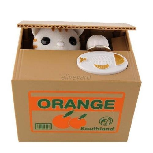 Hot Sell Automatic Stealing Coin White Cat Penny Piggy Bank Money Saving - To Sunglasses Draw How