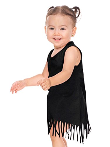 (Kavio! Infants Sheer Jersey Raw Edge Fringe Asymmetrical Tank Dress Black 18M)