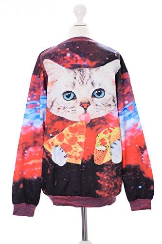 T-536 Pizza Katze Cat Unisversum bunt Pastel Goth Lolita Pullover Sweatshirt Harajuku Japan Kawaii-Story