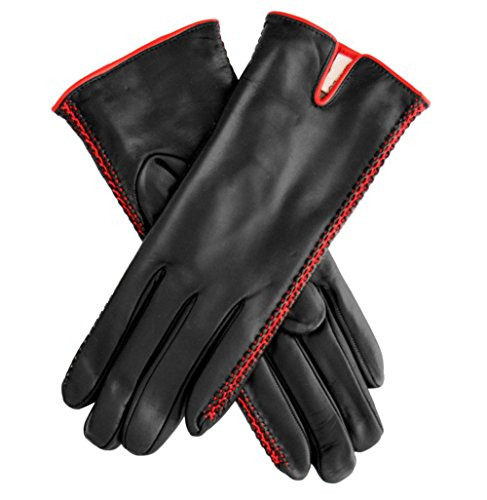 Fratelli Orsini Women's Lambskin Cashmere Lined Leather Gloves with Side Accents Size 6 1/2 Color Black/Red by Fratelli Orsini