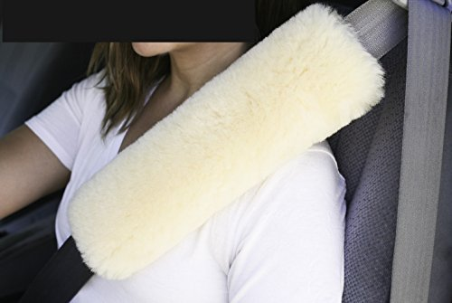 Sheepskin 12 inch long Multi Use Strap Pad Cover for Seat Belt, Guitar Strap, Musical Instrument Strap Genuine Australian Merino (Ivory)