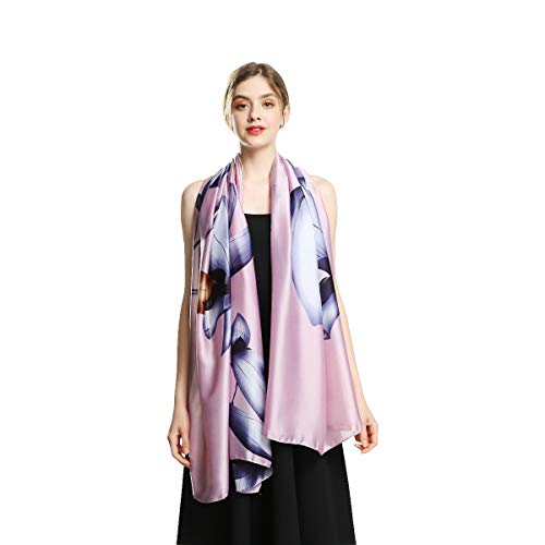 100% Silk Scarfs for Women Fashion Large Sunscreen Shawls Long Lightweight Floral Pattern Scarves -