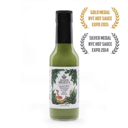 Queen Majesty Hot Sauce, Sauce Hot Jalapeno Tequila Lime, 5 Fl Oz