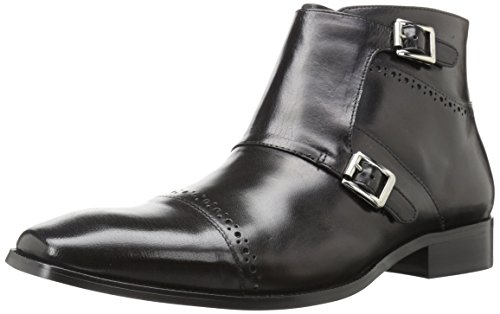 STACY ADAMS Men's Kason Cap Toe Double Monk Strap Side Zipper Boot Chukka, Black, 10 M US ()