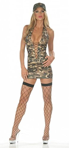 [Nom de Plume, Inc Sexy Stretch Army Dress Costume With Cap Medium Camo] (Sexy Army Costumes For Women)