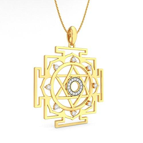 14K Or jaune 0,28CT TW Round-cut-diamond (IJ   SI) Pendentif