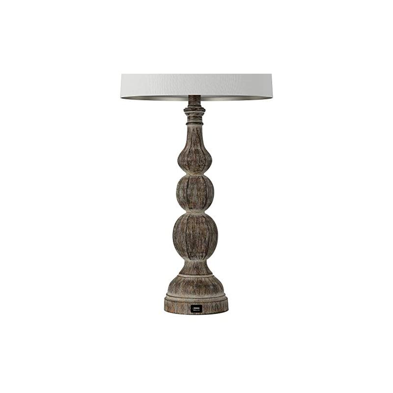 BOBOMOMO 27.75'' USB Table Lamp with Charging Port Set of 2 Antique Retro Nightstand Lamp for Bedroom Living Room Resin…