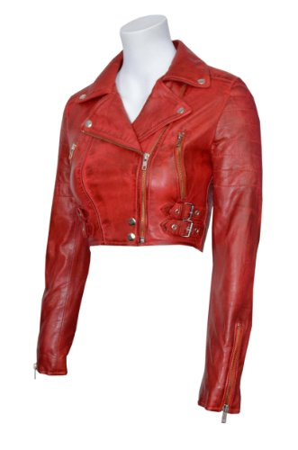 Missy dames ont adapté court rouge de mode Goth Biker souple Napa Leather Jacket KYLIE