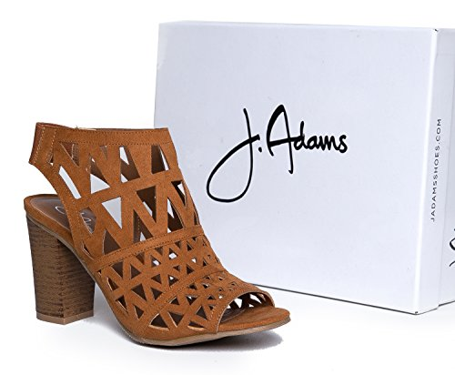 Slip Tan Adams Elastic Heel Shoe Cutout On Bootie Wood J Suede Peep Laser Back Cut Riviera High Toe 7Uxawq