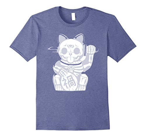 Asian Themed Costume Ideas (Mens Asian Kitty Dia De Los Muertos Amazing Halloween Costume Ide 2XL Heather Blue)