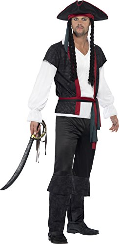 Men's Pirate Captain Costumes (Smiffy's Men's Aye Aye Pirate Captain Costume, Top, pants, Tie and Hat with hair, Pirate, Serious Fun, Size L, 45492)