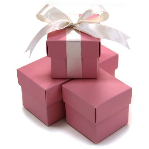 Koyal 2-Piece 10-Pack Square Favor Boxes, Pink