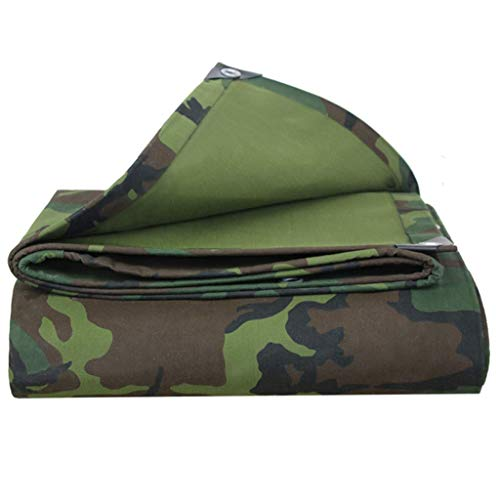 JLDNC Heavy Duty Waterproof Camouflage Tarp, 15mil Camouflage Tarpaulin Cover with Grommets,Multi-Purpose Canvas Tarpaulin/with Protection,12x12Ft/4x4m