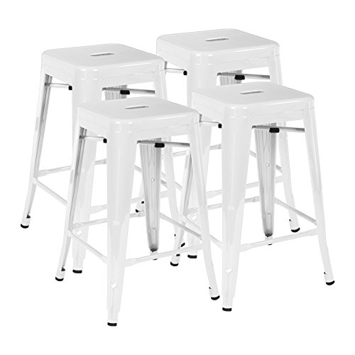 24 Inch Metal Bar Stools Set of 4 Industrial Backless Silver Bar Chairs by IntimaTe WM Heart