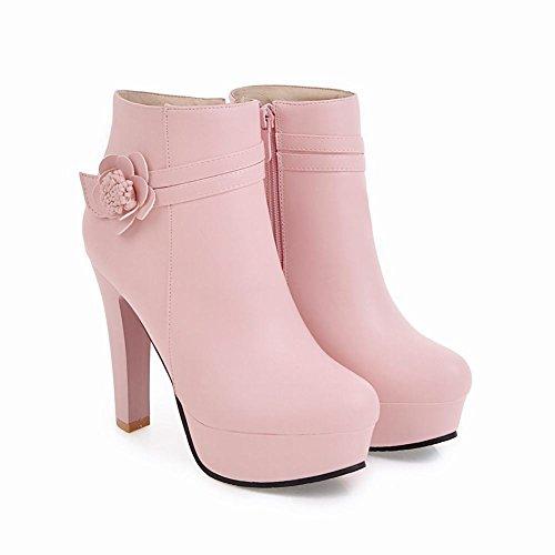 Fleur De Femmes Des Zip Haut Courtes Chaussures Talon Charme Plateforme Mee Bottes Rose 1qR5gX
