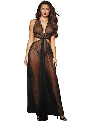 Dreamgirl Women's Romantic Sheer Gown, Black OS (Sheer G-string)