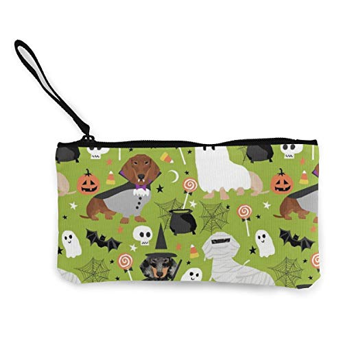 Dachshund Halloween Womens Canvas Coin Purse Mini Change Wallet Pouch-Card Holder Phone Wallet Storage Bag,Pencil Pen Case]()