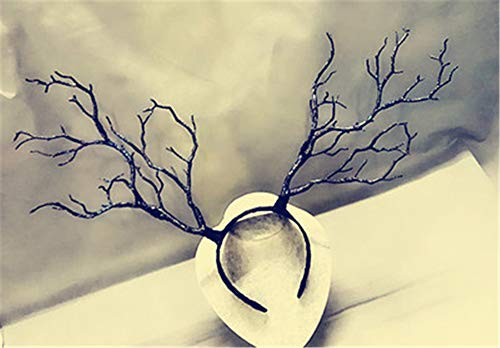 - Christmas Fairy & Witch Tree Branches Antlers Headband Cosplay Party Butterfly Flower Headpiece Decoration Steampunk Vintage (Black)