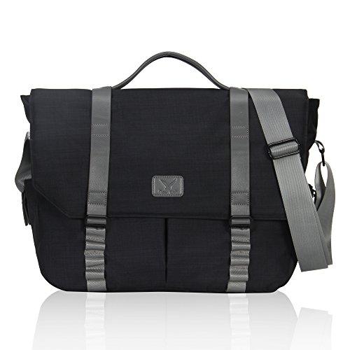 Hynes Eagle 14 Inch Laptop Messenger Bag for Everyday Satchel Bag Black
