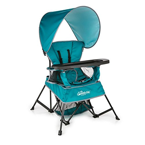 Baby Delight Go with Me Chair | Indoor/Outdoor Chair with Sun Canopy | Teal | Portable Chair converts to 3 Child Growth Stages: Sitting, Standing and Big Kid | 3 Months to 75 lbs | Weather Resistant ()