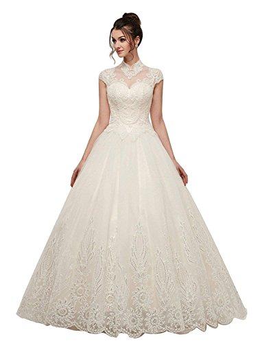 Corset Wedding Dresses.Onlybridal Women S Wedding Dress Lace Tulle Halter High Neck Ball Gown Short Sleeve Lace Up Corset Bridal Dress