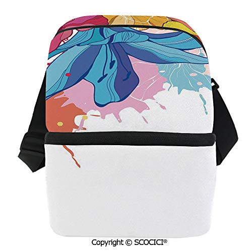 SCOCICI Thermal Insulation Bag Colored Different Flowers Blooming Spring and Summer Themed Drawing Style Decorative Lunch Bag Organizer for Women Men Girls Work School Office -