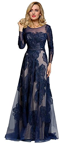 Meier Women's Long Sleeve Illusion Back Lace Evening Formal Dress