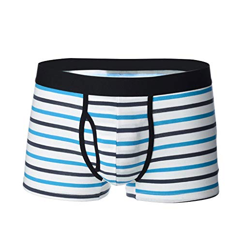 ✿HebeTop✿ Men's Solid Color Stripe Cotton Pouch Boxer Brief Underwear Light Blue ()