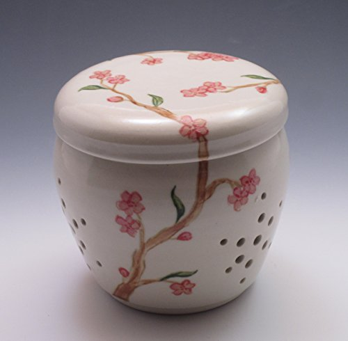 Porcelain Garlic Jar, handthrown and hand painted with cherry blossoms