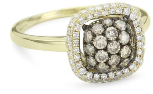 "KC Designs ""Tres Chic"" Champagne and White Diamond 14k Yellow Gold Ring, Size 8"