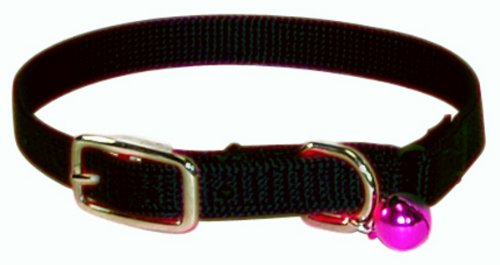 Hamilton Safety Cat Collar with Bell, Black, 3/8 Wide x 12