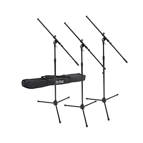 On-Stage MSP77033 Euroboom Microphone Stands with Travel Bag, 3 Pack (A Pedestal On Set)