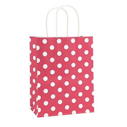 Gift Bags 25Pcs 8x4.75x10.5 Inches BagDream Shopping Bags, Paper Bags, Kraft Bags, Retail Bags, Holiday Party Bags, Red Dot Paper Bags with Handles, Red Paper Gift Bags