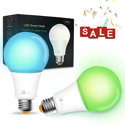 Smart Bulb, A21 Wi-Fi Smart Led Light Bulb (100W Equivalent) Compatible Amazon Alexa Google Home,App&Voice Controlled Party Bulbs Color Changing Dimmable Night Light Wake Up Lights(e26/e27) - 2 Pack ()