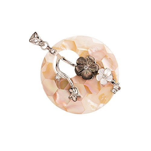 (Shell Pendant, Round Mother-Of-Pearl Base, Black And White Carved Clubs With Rhinestone , Silver-Plated Brass)