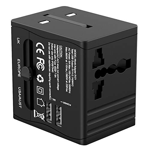 Travel Adapter,Worldwide All in One Universal Power Converters,Wall AC Power Plug Adapter,Power Plug Wall Charger with…