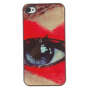 ZMY Giant Pattern Red Eye PC caso duro con 3 Almuerzos Protectores HD de pantalla para iPhone 4/4S