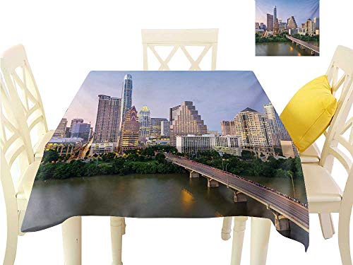 (familytaste Christmas Tablecloth Modern,Austin Texas American City Bridge Over The Lake Skyscrapers USA Downtown Picture,Multicolor Table Runner Cloth Cover W 50