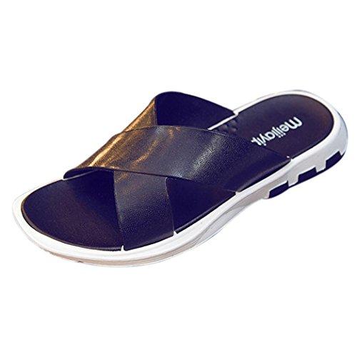 Hatop Été Hommes Croix Large Sangle Flip Flop Pantoufle Intérieure Et Extérieure Chaussures De Sport Sapatos Hembre Sapatenis Noir
